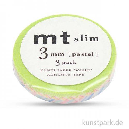 MT Masking Tape Slim Set Pastel mit 3 x 3 mm x 10 m