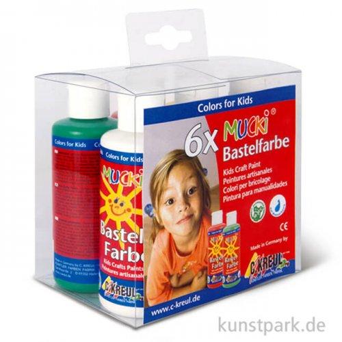 MUCKI Bastelfarbe Set - 6 x 80 ml