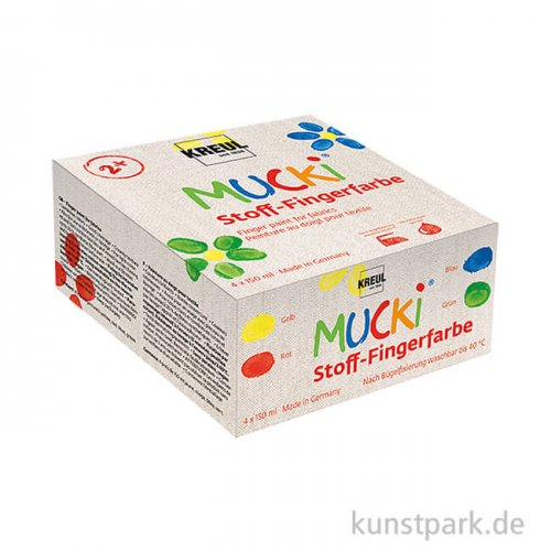 MUCKI Textil Fingerfarben Set - 4 x 150 ml