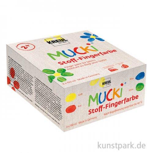 MUCKI Textil Fingerfarben Set - 4 x 150 ml