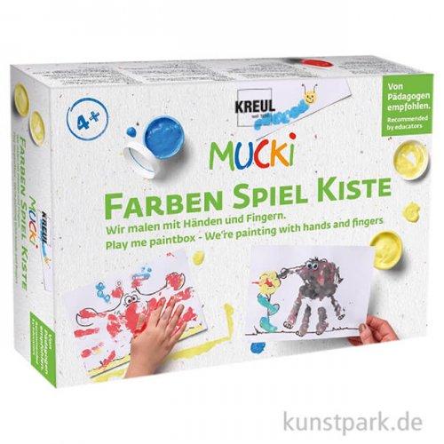 MUCKI Fingerfarben Set - Wir malen mit Händen und Fingern, 5 x 50 ml, Zubehör