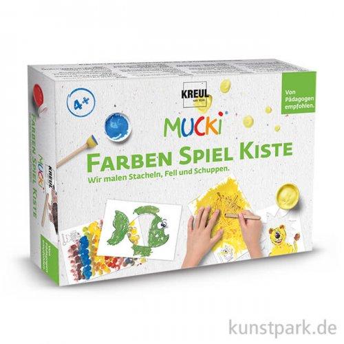 MUCKI Fingerfarbenset - Wir malen Stacheln, Fell und Schuppen, 5 x 50 ml, Zubehör