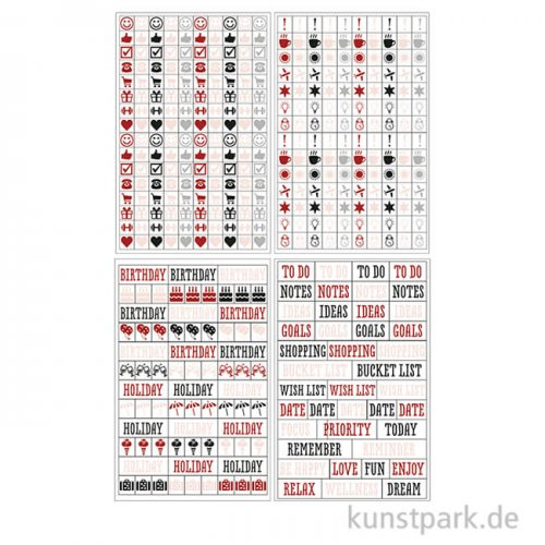 My Planner - Sticker Symbole, 4 Blatt sortiert