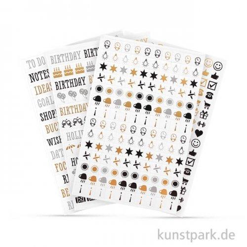 My Planner - Sticker Worte und Icons - Glam, 4 Blatt sortiert