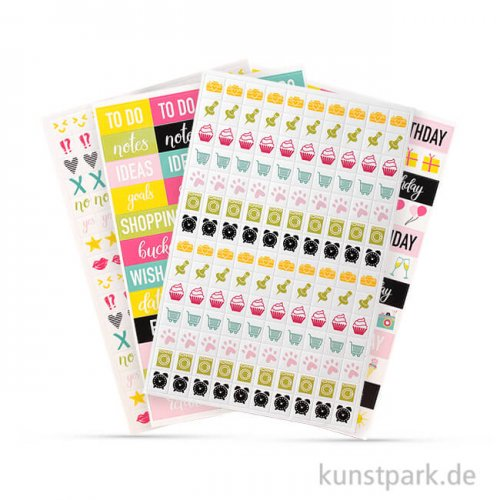 My Planner - Sticker Worte und Icons - Happy, 4 Blatt sortiert