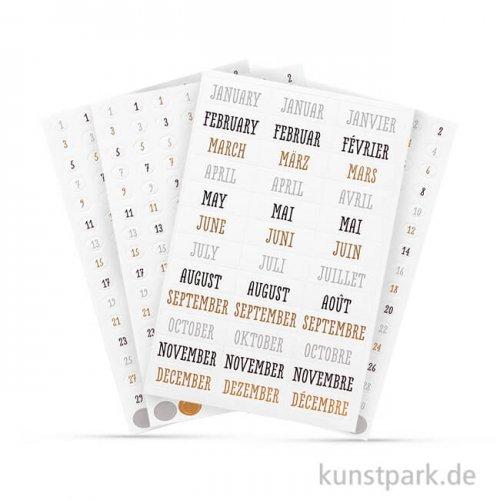 My Planner - Sticker Zahlen und Monate - Glam, 4 Blatt sortiert