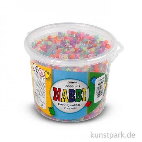 NABBI Bügelperlen - Glitter Farben, 5x5 mm 5.000 Stück