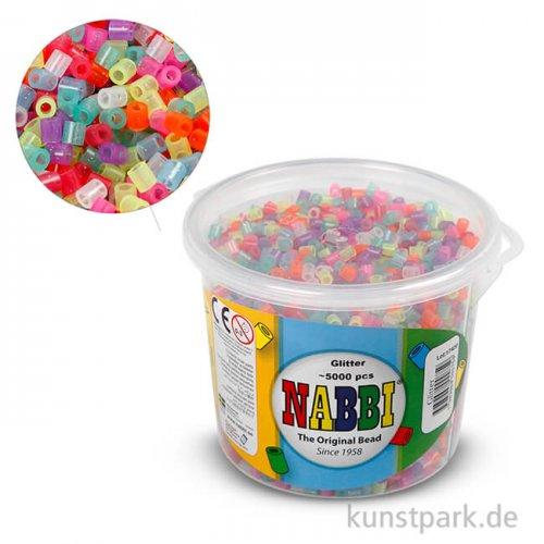 NABBI Bügelperlen - Glitter Farben, 5x5 mm