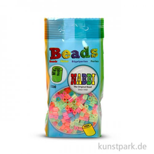 NABBI Bügelperlen - Neonfarben, 5x5 mm 1.100 Stück