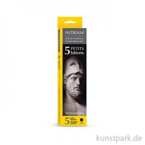 Nitram PETITS Holzkohlestift soft round, 5 Stück Batons - 6 mm