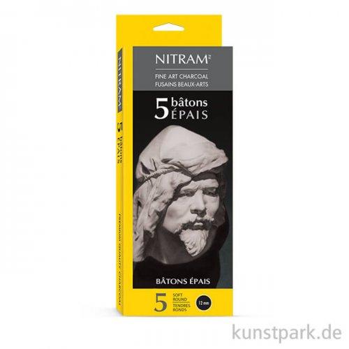 Nitram PETITS Holzkohlestift soft round, 5 Stück Epais - 12 mm