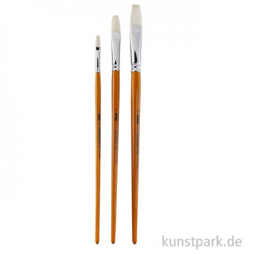 Öl- und Acrylmalpinselset A105, 3 Flachpinsel