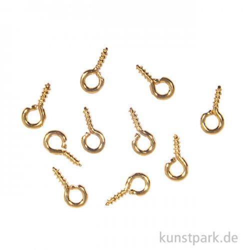 Ösenschraube - Gold, 2 mm, 10 Stück