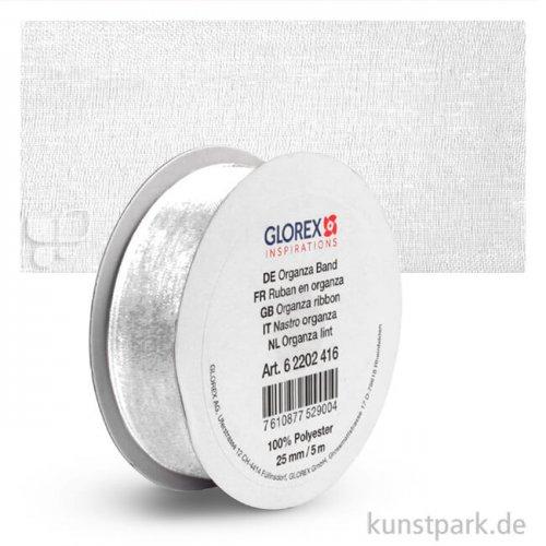 Organza-Band - 25 mm Breite - 5 m Länge 5 m | Weiß