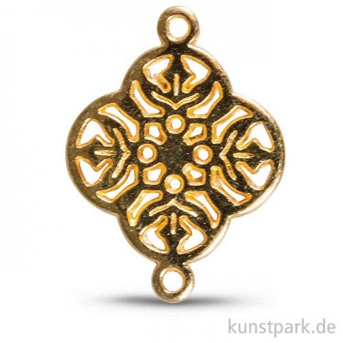 Metall-Zierlement mit Ösen - Ornament Blume, 15 mm, 1 Stück Gold