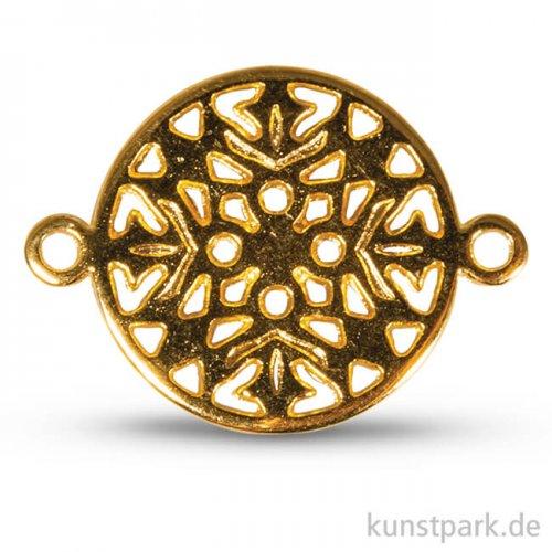 Metall-Zierlement mit Ösen - Ornament Rund, 15 mm, 1 Stück Gold