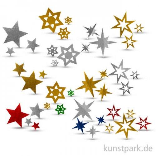 Paillettenmix Deko-Sterne, 25g - farbig sortiert