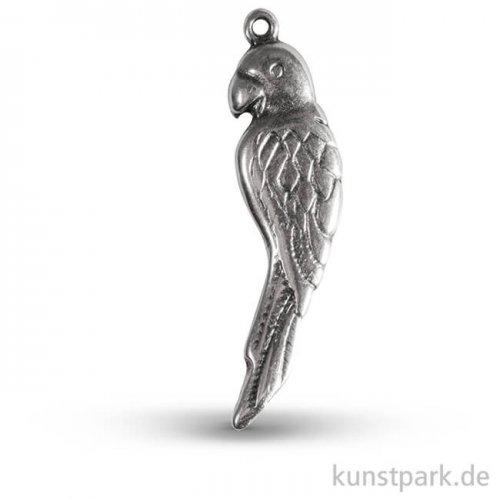 Papagei Metall-Anhänger mit Öse - Silber, 35 mm, 1 Stück