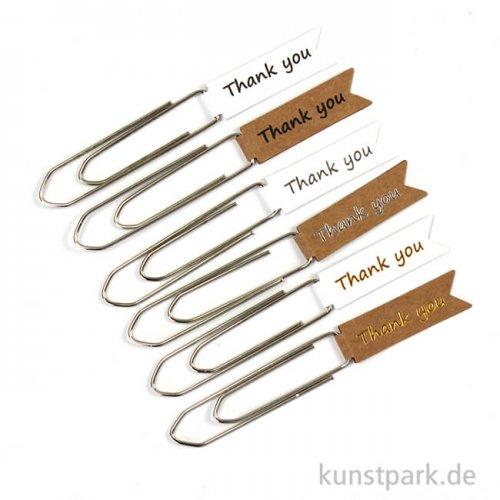 Paper Clips - Thank you, 8 Stück sortiert