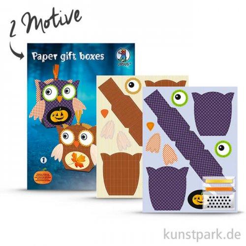 Paper Gift Boxes - Eule mit umfangreichem Zubehör - Lila-Braun