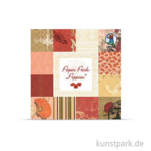 Paper Pack - Poppies, 24 Blatt, 190 g 15,3 x 15,3 cm