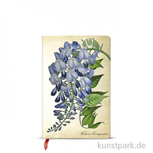 PAPERBLANKS Notizbuch - Botanikmalerei - Blühende Glyzinie, 95 x 140 mm
