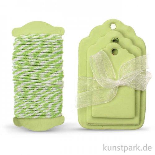 Papier-Etiketten und Band, 15 Stk - Hellgrün