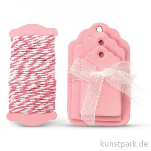 Papier-Etiketten und Band, 15 Stk - Rosa