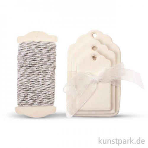 Papier-Etiketten und Band, 15 Stk - Weiß