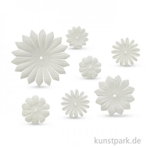Papierblumen, 20-55mm, 30 Stück, weiß sortiert