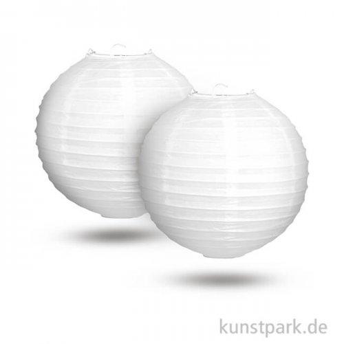 Papierlampion mit Metallgestell, Durchmesser 20 cm, 2 Stück - weiß