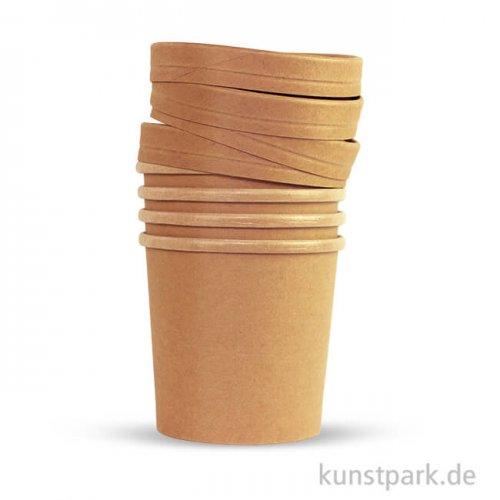 Papp-Becher mit Deckel in Bio-Qualität, 4 Stück