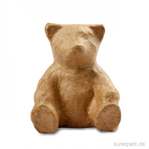 Pappmaché - Bär, sitzend, handgemacht, Höhe 8 cm
