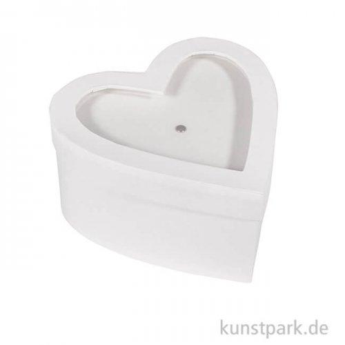 Pappmache Herz mit Schütteldeckel, Weiß, Größe 9x9x4,5 cm