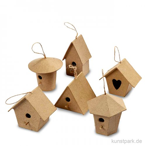Pappmaché - Mini-Vogelhäuser, handgemacht, Höhe 7 cm, 6 Stück sortiert