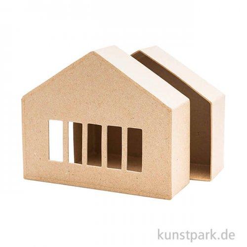 Pappmache Schachtel - breites Haus mit Fenster