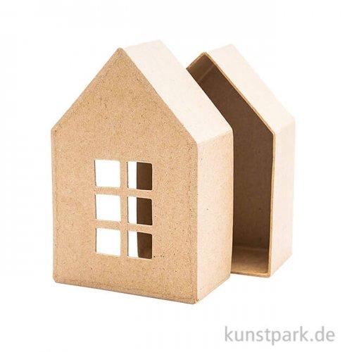 Pappmache Schachtel - kleines Haus mit Fenster