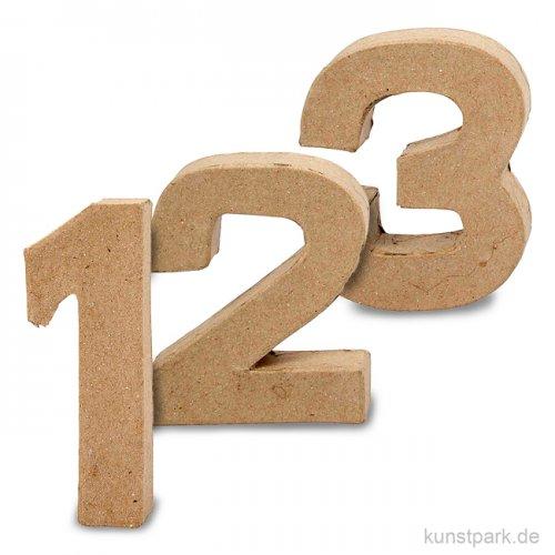 Pappmaché-Zahlen - handgearbeitet, Höhe 10 cm, Dicke 2 cm