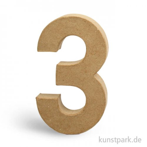 Pappmaché-Zahlen - handgearbeitet, Höhe 20,5 cm, Dicke 2,5 cm 20,5 cm | 3