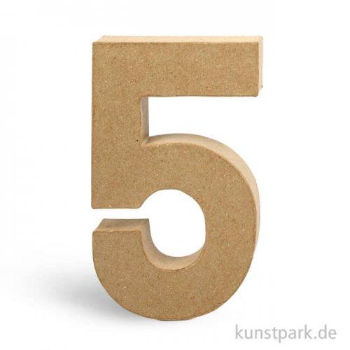 Pappmaché-Zahlen - handgearbeitet, Höhe 20,5 cm, Dicke 2,5 cm 20,5 cm | 5