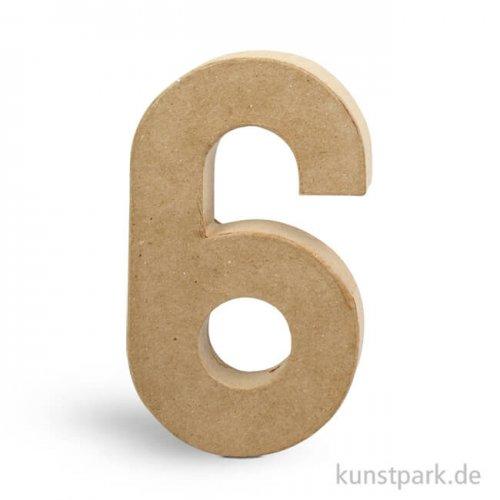 Pappmaché-Zahlen - handgearbeitet, Höhe 20,5 cm, Dicke 2,5 cm Einzeln   6