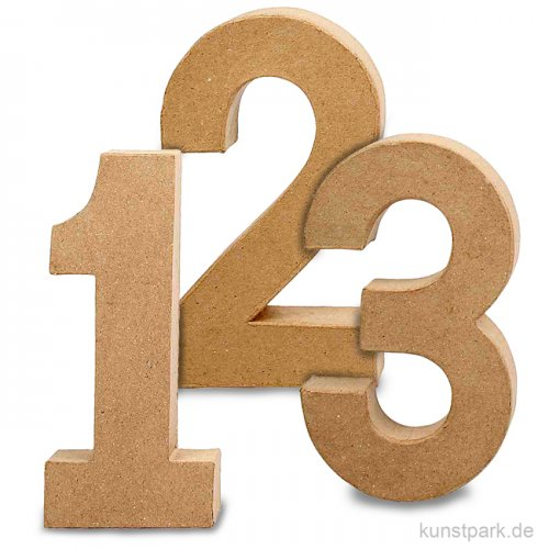 Pappmaché-Zahlen - handgearbeitet, Höhe 20,5 cm, Dicke 2,5 cm