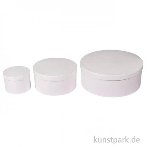 Pappmache Boxen Set Rund, Weiß, 3 Größen sortiert