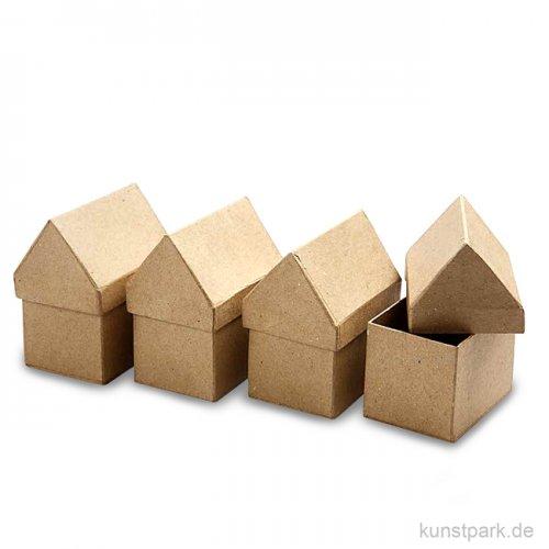 Pappschachtel-Set - Haus, handgearbeitet, 4 Stück sortiert
