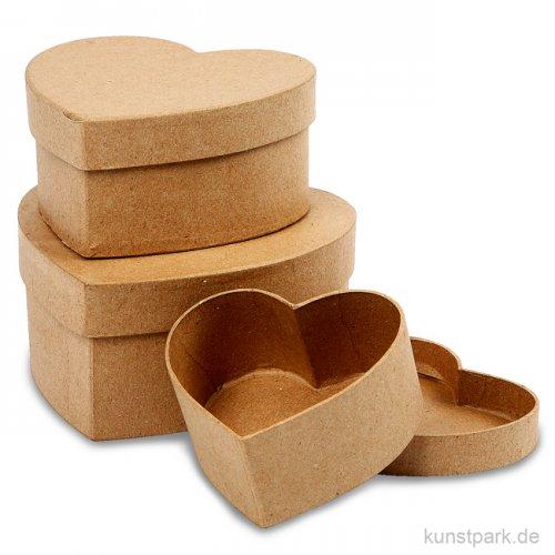 Pappschachtel-Set - Herz, handgearbeitet, 3 Stück sortiert