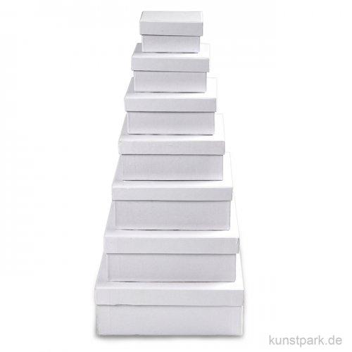 Pappschachtel-Set - quadratisch, weißer Karton, handgearbeitet, 7 Stück sortiert
