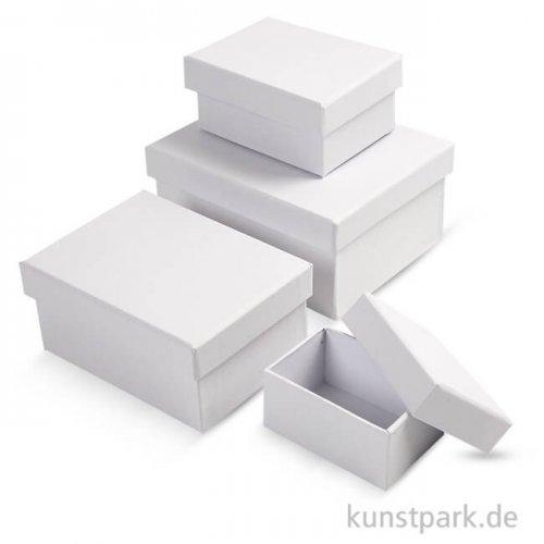 Pappschachtel-Set - rechteckig, weißer Karton, handgearbeitet, 4 Stück sortiert