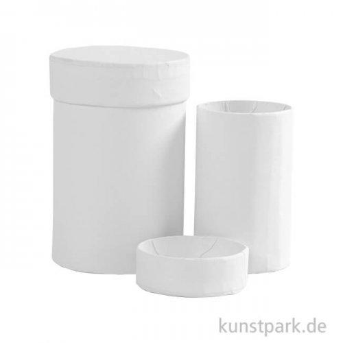 Pappschachteln Rund - Weiß, 2 Stück sortiert
