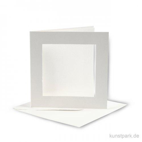 Passepartoutkarten quadratisch - Altweiß, 12,5x12,5 cm, 10 Stück