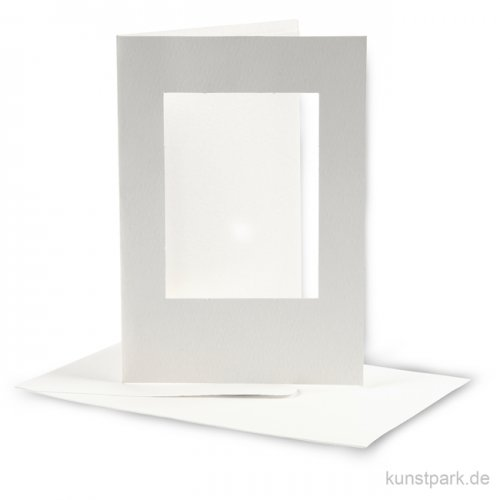 Passepartoutkarten rechteckig - Altweiß, 10,5x15 cm, 10 Stück